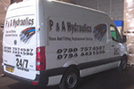Vinyl lettering and digital artwork to van