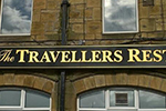 Painted signboard lettered & gilded in 23.5 carat gold leaf for gateshead pub
