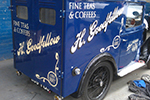 Traditional hand painted lettering and shading to 1934 Austin Seven Van